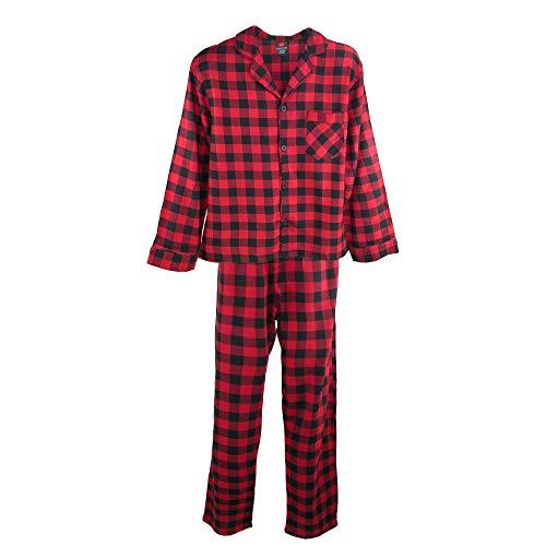 Hanes Herren Pyjama-Set aus Baumwollflanell Gr. L, rot