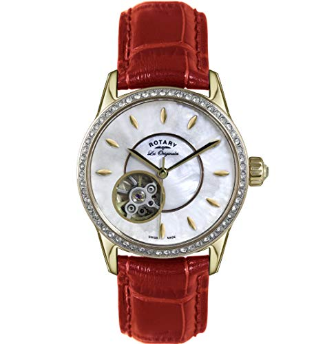 Rotary Orologio Automatico Swiss Made Diamond con cinturino in pelle rossa...