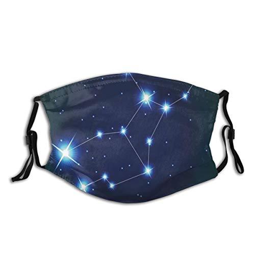 NOLYXICI Gesichtsbedeckung Jungfrau Sternbild Sterne Raumdruck Sturmhaube Unisex Wiederverwendbare winddichte Anti-Staub-Mund Bandanas Halsmanschette mit 2 Filtern