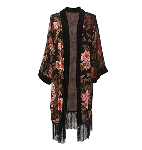 Women's Long Velvet Burnout Kimono Cardigan - Elegant Floral Casual Coverup With Fringe Stylish Maxi Summer Dress for Ladies Outfit Cover Up Big Flower XL