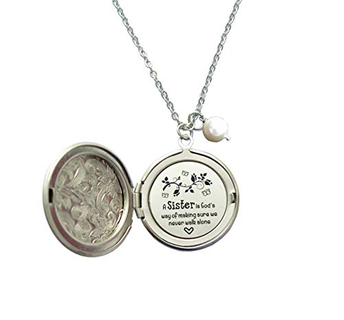 Sister Jewelry Gifts from Sister A Sister is God's Way of Making Sure We Never Walk Alone Hidden Message Long Locket Necklace
