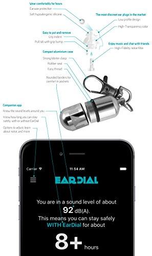 EarDial HiFi Tapones para Oídos - Protección Auditiva Invisible para Concierto, Festival Música, Músico, Moto y otra Discreta y Confortable Reducción de Ruido de Alta Fidelidad. Con Estuche Compacto y App.