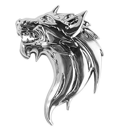BianchiPamela New Wolf-Head 3D Metal Auto Car Grill Badge Logo Totem Grille Emblem Sticker