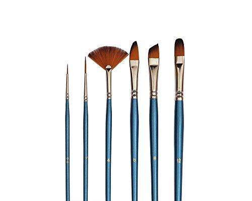 Repino 6 Künstlerpinsel Pinselset Katzenzungenpinsel Fächerpinsel Schrägpinsel Schriftpinsel Pinsel Set für Acrylfarbe Aquarellfarbe