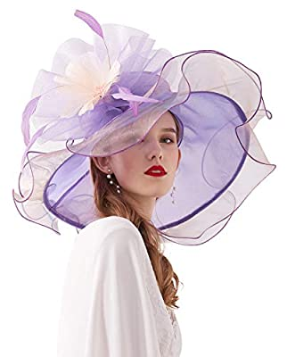 Z&X Womne's Dual-use Organza Church Kentucky Derby Hat Fascinator Clip Big Wide Brim Ruffles Wedding Tea Party Hat