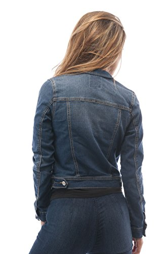 Womens Basic Button Down Denim Jean Jacket (Medium, MediumBlue)