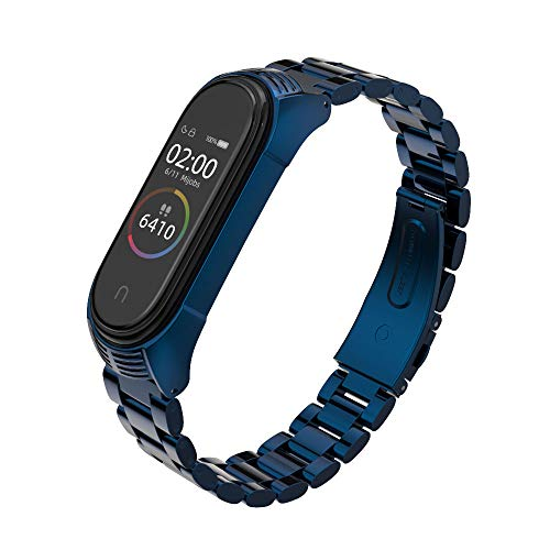 MIJOBS Compatible with Xiaomi Mi Band 3, Stainless Steel Replacement Strap Metal Bracelet Accessories for Xiaom Mi Band 4 Wristband