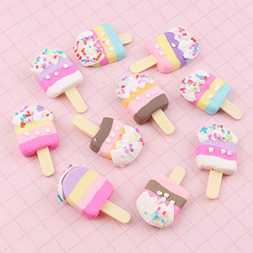 N\C 10pc 18x30mm beauty mix color Kawai spiral ice cream polymer clay Capoken flat back