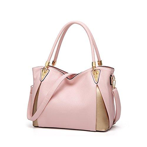 Tisdaini® Damenhandtaschen Mode Schultertaschen weich Leder Shopper Umhängetaschen Rosa