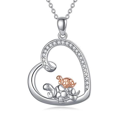 Schildkröten Kette Herz Anhänger Halskette Sterling Silver 925 Schildkröte Schmuck Geschenke für Frauen Mutter Tochter Kette (Schildkröten Kette)