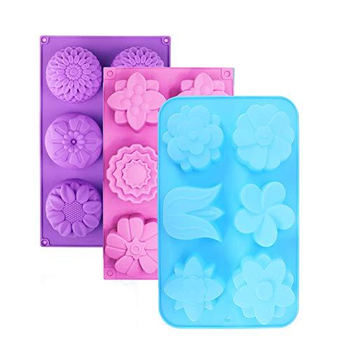 TIANTI 3 Stück 6-Cavity Backform im Blumenform aus Silikon, Seifenform Silikonform Seife, Silikon-Blumenform, für Die Herstellung von Jelly Pudding Cookies Schokolade(Blau, Pink und Grün)