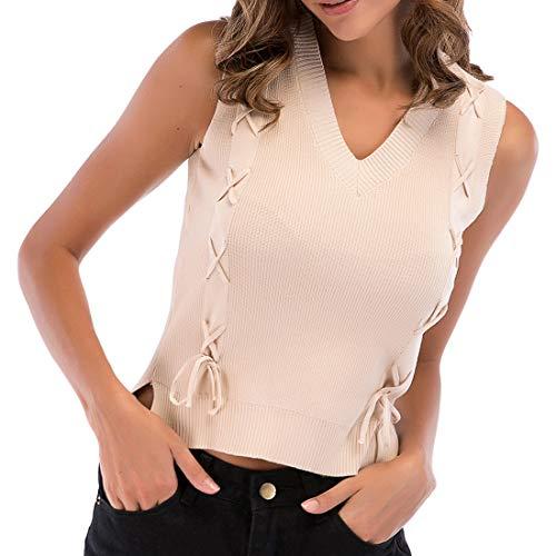 Camisetas sin mangas de punto a rayas para mujer Camisas de blusa casuales de blusa con cuello en V a rayas Chaleco de verano Blusa con estampado floral con nudo en la parte delantera Blusa sin mangas