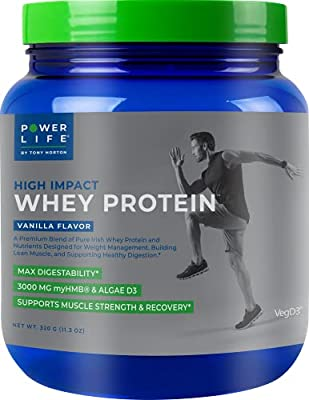 Tony Horton PowerLife® High Impact Whey Protein Supplement with 3000 MG of HMB, Vanilla Flavor 15 Servings