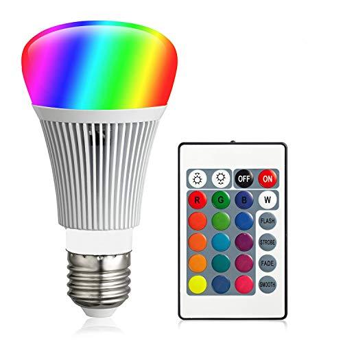 FFTONG RGB LED Glühbirne, Farbwechsel Farbige Leuchtmittel RGBW LED Lampe 10W A19 E27 Basis Dimmbare Farbige Leuchtmitte Lampen RGB LED Birnen mit Fernbedienung, 16 Farben, Memory-Funktion (1 Stück)