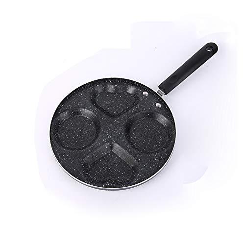 "LOYUYU Aluminum Circle Heart 4-Cup Egg Frying Pan, Non Stick Egg Cooker Pan for Frying Eggs Burgers Bacon Heart Mold 9.4"""