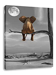 """Elephant Art Wall Decor Animal Resting Elephant Look at The Moon Wall Pictures for Bedroom Living Room Bathroom Decoration, Wooden Framed Stretched Print on Canvas Poster Ready to Hang 12"""" x 16"""""""