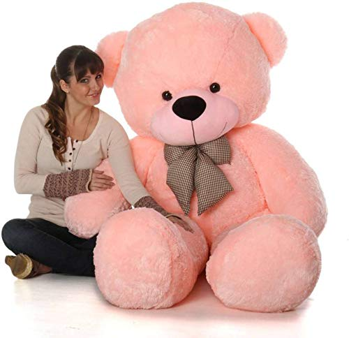 EMUTZ Polyester Very Soft Teddy Bear with Neck Bow, 36 Inch, Pink