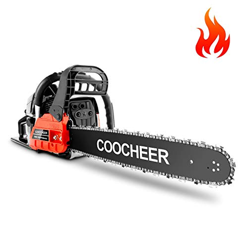 COOCHEER 62CC Gas Powered Chainsaw, Full Crank 2 Cycle Gas Powered Chainsaw with 20-Inch Bar | Automatic Oiler | Tool Kit (Black & Red)