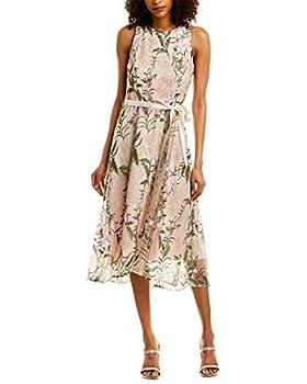 Tahari ASL Women s Sleeveless Tie Waist Floral High Low Dress Blush Multi Embroidery 10