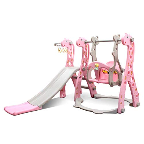 Kids Swing and Slide Set w/ Basketball Hoop & Music Player Kids Fun Slide Set for Indoor and Outdoors Playground Play Set (Giraffe Pink)