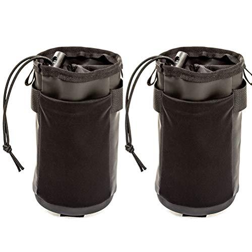 ZRVATO Biycle Bike Cup Holder Handlebar Bag, Cruiser Bike Water Bottle Holder with Adjustable Velcro Strap Feed Snack Storage for Electric Scooter, E-Bike, Folding, Road, Mountain Bikes (2 PCS)