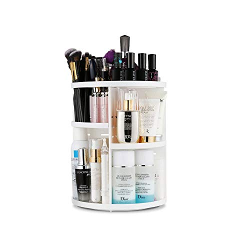360 Rotating Makeup Organizer, DIY Adjustable Makeup Carousel Spinning Holder Storage Rack, Large Capacity Makeup Caddy Shelf Cosmetics Organizer Box, Best for Countertop (White)
