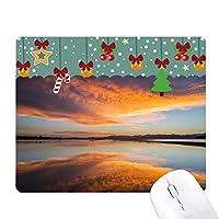 日の出の海の空の雲の反射 ゲーム用スライドゴムのマウスパッドクリスマス