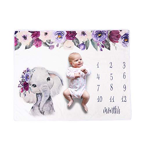 Winnfy Manta de Hito Mensual para Bebé Accesorios para Fotos de Recién Nacido Manta de Franela de Elefante de Fondo para Bebés Recién Nacidos Bebé Mensual