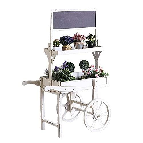 Inicio Equipo Soporte para flores Campo idílico Soporte para plantas rústico Carrito de madera de 2 niveles Soporte para flores con marco de decoración de pizarra Pequeña tienda creativa Accesorios