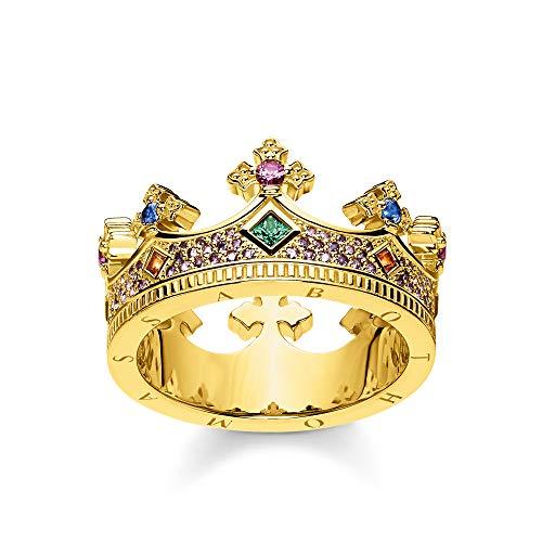THOMAS SABO Damen Ring Krone Gold 925 Sterlingsilber, 750 Gelbgold Vergoldung TR2265-973-7