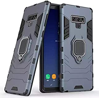Samsung galaxy note 9 armor iron man case cover with magnetic holder ring stand blue