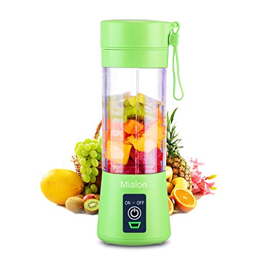 [Upgraded Version] Personal USB Juicer Cup ,Portable Juicer Blender ,Household Fruit Mixer - Six Blades in 3D,Rechargeable Fruit Mixing Machine For Baby Travel 380ml(green)