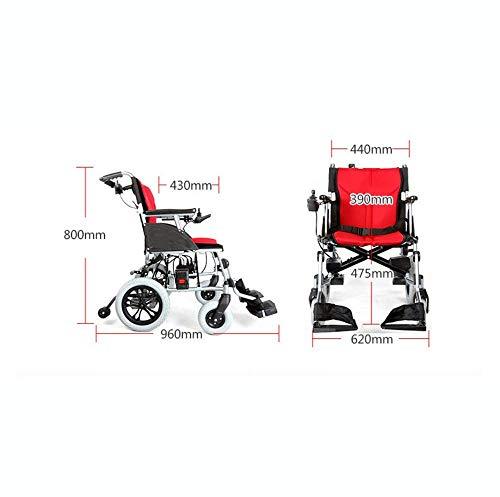 Lunzi Rollstuhl Leichte Klappfernbedienung Elektrischer Rollstuhl Motorisiert, Silber - Leichtestes Klappflugzeug und bereit für Kreuzfahrten