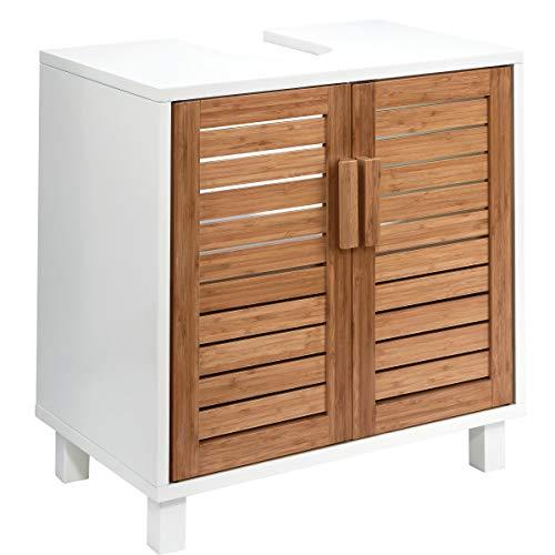 Butlers White Sands Waschbeckenunterschrank Bambus-Optik 60x38x61,5 cm in Weiß - Moderner Badunterschrank, Badmöbel