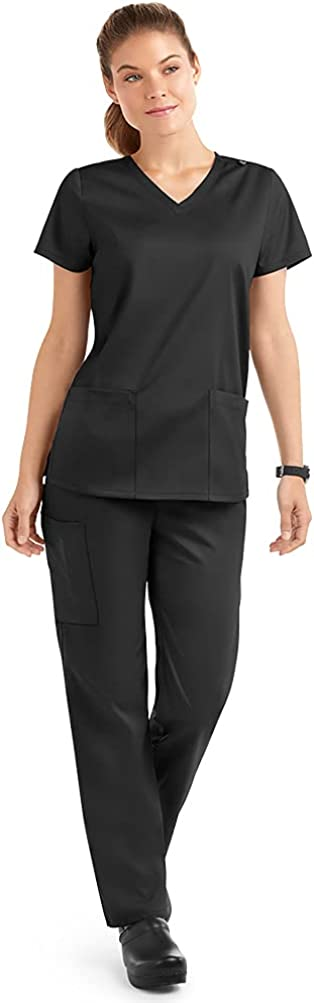 Strictly Scrubs Stretch Women's Four Way Stretch Scrub Set (XS-3X, 15 Colors) - Includes V-Neck Top and Pant