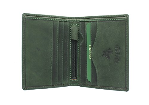 Visconti Cartera Compacta Arrow de Cuero Engrasado 705 Bloqueo RFID Verde Petróleo