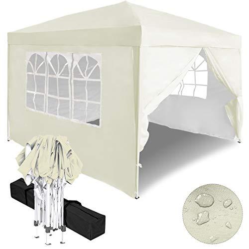 Aufun Faltpavillon Faltzelt 3x3m UV-Schutz - gartenpavillon 4 Seitenteile Wasserdicht - für Garten/Party/Hochzeit/Picknick, Beige
