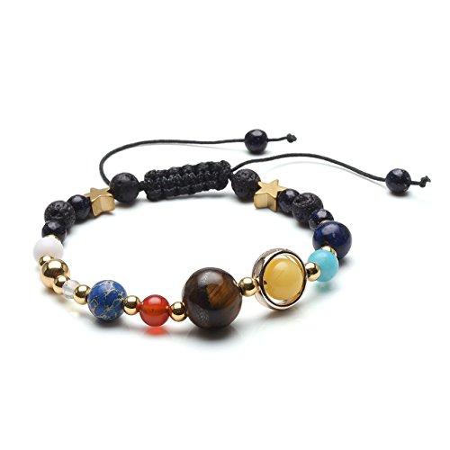 Jsdde Braccialetto unisex a tema sistema solare con pietra lavica e braccialetti di pietre con i nove pianeti con fiocco e Lega, colore: Varisized Bead, cod. JSDUK65417