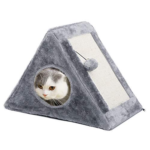 PAWZ Road Triángulo Cueva del Gato Rascador de Gato Tienda de campaña casa de Juegos con Tabla de rascar Plegable Juguete rascador de Gato Gris