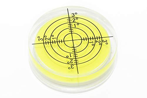 Große Dosenlibelle, Wasserwaage in gelb Ø 40mm, 10mm Höhe mit Gradanzeige von 1°, 2° und 3° für Industrie, Technik, Hobby oder Camping mit präzisen Ablesungsmarkierungen