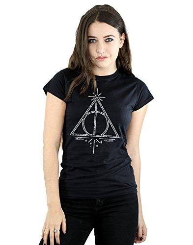 Harry Potter Damen Deathly Hallows Symbol T-Shirt Small Schwarz