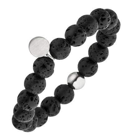 MAGNETIX-Wellness 4631 Magnetarmband aus schwarzen Lava-Perlen (19.0)