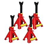 Trintion 4Pcs 3 Ton Axle Stands Jack Stands Heavy Duty Axle Jack Stands For Car Van Lifting Tool Emergency