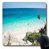Luancrop Alfombrillas Tulum Playa Maya Naturaleza México Juego Oblongo Alfombrilla de Ratón Alfombra de Goma Antideslizante