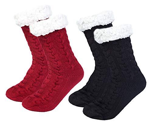 2 Paires Chaussettes Chaussons Femme Chaussettes Slipper Femme Chaussettes Pantoufle Chaudes avec Doublure en Polaire Douce, Antidérapantes Noël Thermiques Hiver