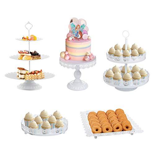 Juego de 5 soportes para tartas de metal, color blanco, para decoración de postres, fiestas, bodas, cumpleaños, baby shower, celebraciones, decoración del hogar