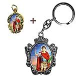 Llavero de San Expedito + Medalla. De Regalo estampas de San Expedito, San Pancracio, San Judas Tadeo y San Miguel.
