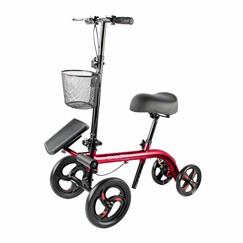 """Tuffcare Smooth Seated Knee Scooter, Slow Propelled Steerable Mobility Knee Walker Crutches, Wheelchair Alternative with Dual Brakes, Fits Height of 5'2""""-6'3"""" (Solid Rubber Tires, Candy Apple Red)"""