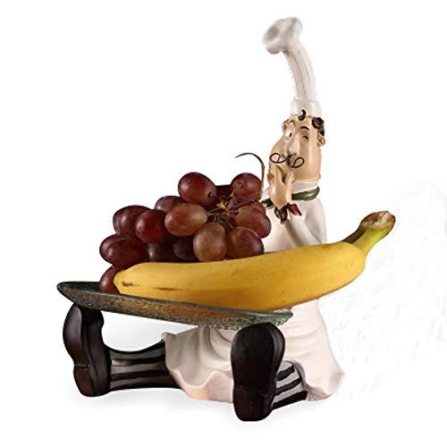 Sculpturen Standbeelden Zittend Op De Grond Met Een Fruitschaal Hars Chef Decoratie Woondecoratie Restaurant Decoratie Tafeldecoratie