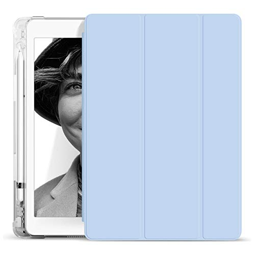 YYLKKB para iPad Air3 Transparente 12.9 iPad Pro11 Shell Soporte AUTOMÁTICO AUTER SOUTE SLEEPT 9.7 Mini 5 iPad Funda protectora10.2 Pulgada con Tableta de Pluma-Azul Claro_iPad Aire 4 10.9 Pulgadas